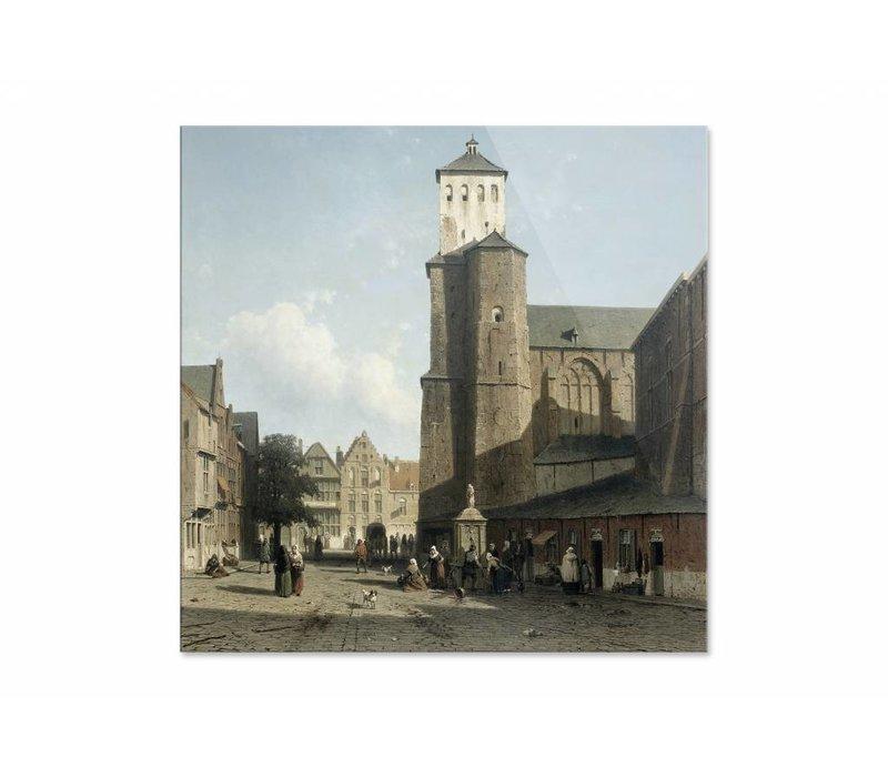 De kerk van St Denis te Luik • vierkante afdruk op plexiglas