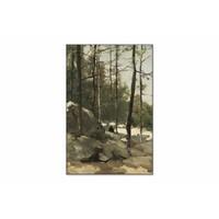 Bosgezicht nabij Barbizon • staande afdruk op textiel