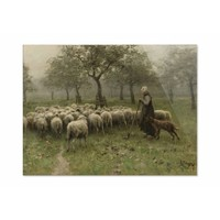 Herderin met kudde schapen • liggende afdruk op plexiglas