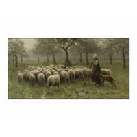 Herderin met kudde schapen • liggende afdruk op textiel