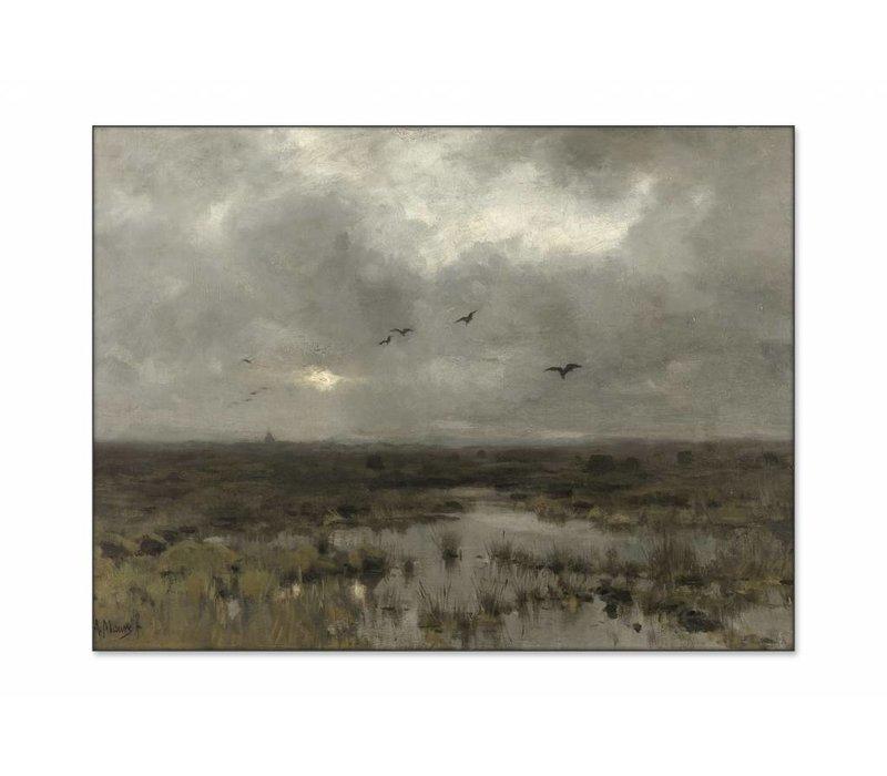 Het moeras • liggende afdruk op textiel
