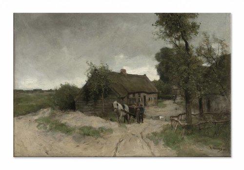 Huisje aan de zandweg • liggende afdruk op canvas