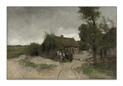 Huisje aan de zandweg • liggende afdruk op textiel