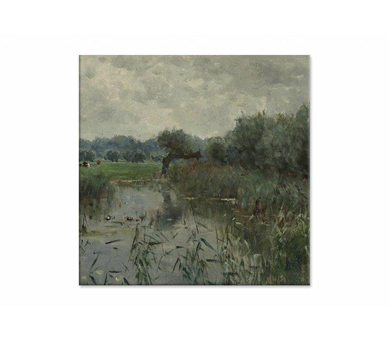 In de uiterwaarden van de IJssel • vierkante afdruk op canvas