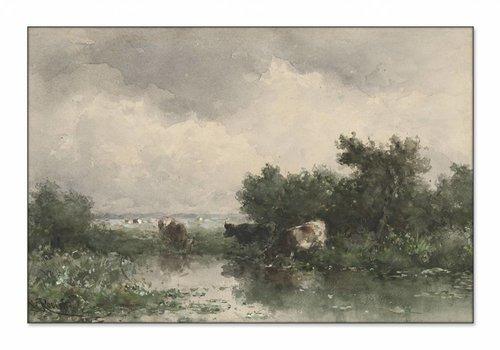 Koeien aan een plas • liggende afdruk op textiel