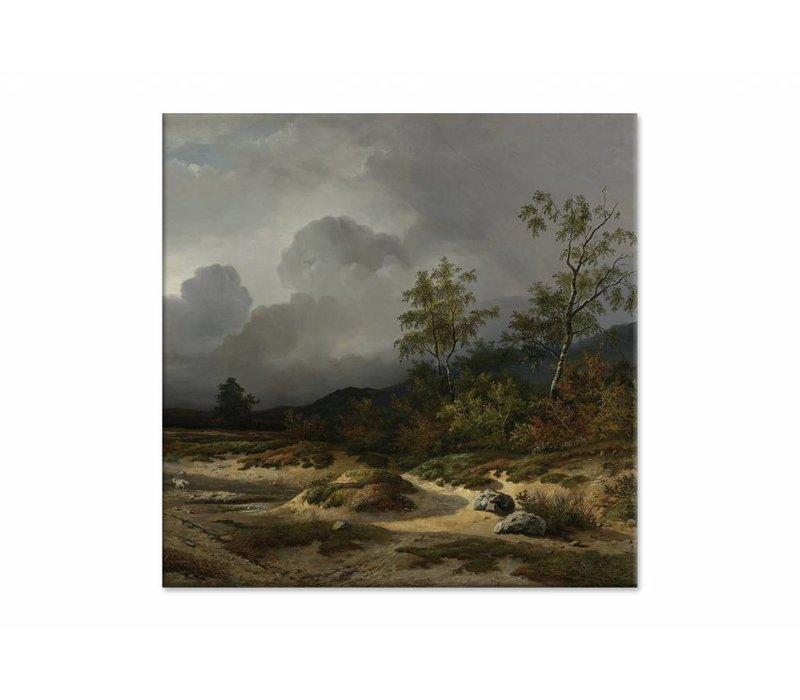Landschap bij naderend onweer • vierkante afdruk op canvas