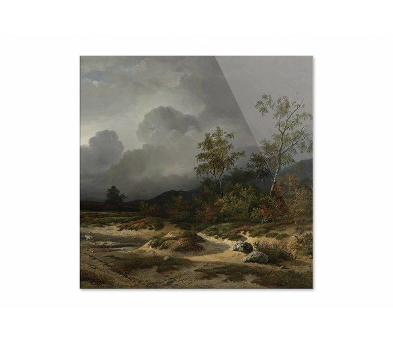 Landschap bij naderend onweer • vierkante afdruk op plexiglas