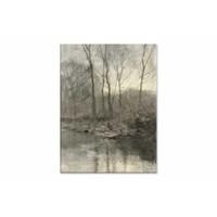 Bosrand aan het water • staande afdruk op canvas