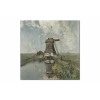 Een molen aan een poldervaart • vierkante afdruk op canvas