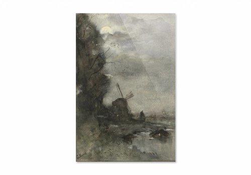 Landschap met molen bij maanlicht • staande afdruk op plexiglas