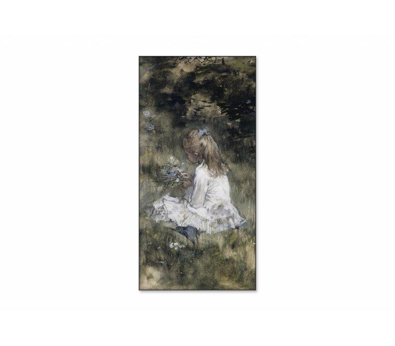 Een meisje met bloemen in het gras • staande afdruk op textiel