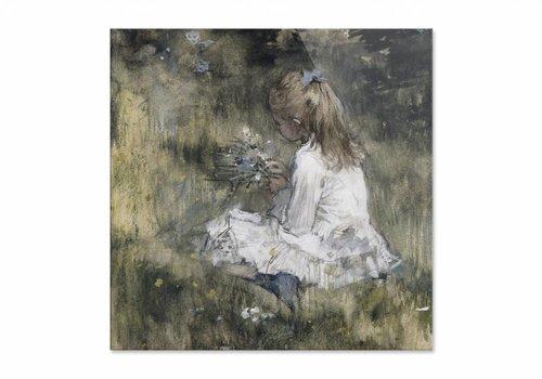 Een meisje met bloemen in het gras • vierkante afdruk op plexiglas