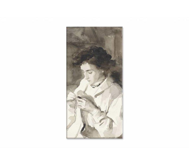 Hakende vrouw • staande afdruk op canvas