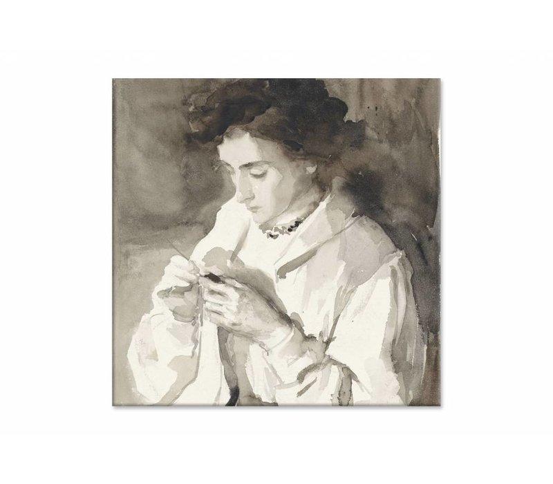 Hakende vrouw • vierkante afdruk op canvas