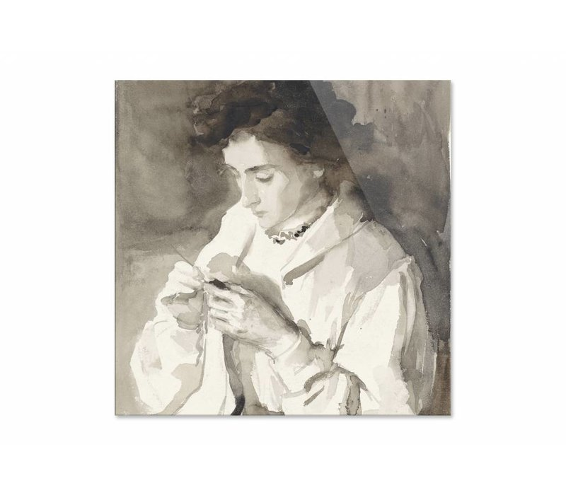 Hakende vrouw • vierkante afdruk op plexiglas