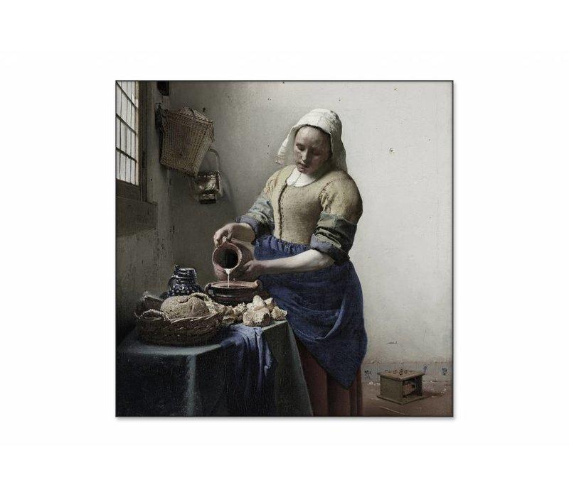 Het melkmeisje • vierkante afdruk op textiel