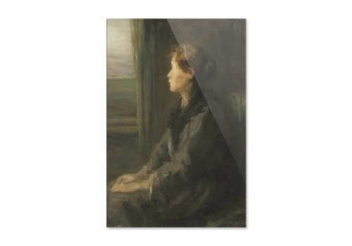 Vrouw aan een raam • staande afdruk op plexiglas