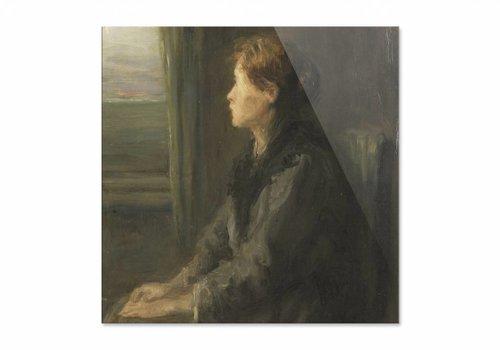 Vrouw aan een raam • vierkante afdruk op plexiglas