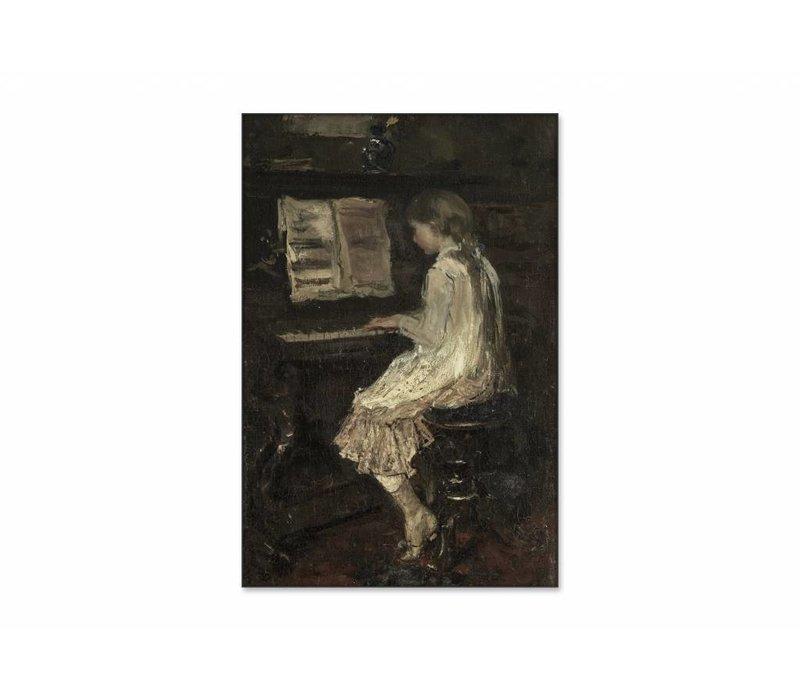 Meisje aan de piano • staande afdruk op textiel