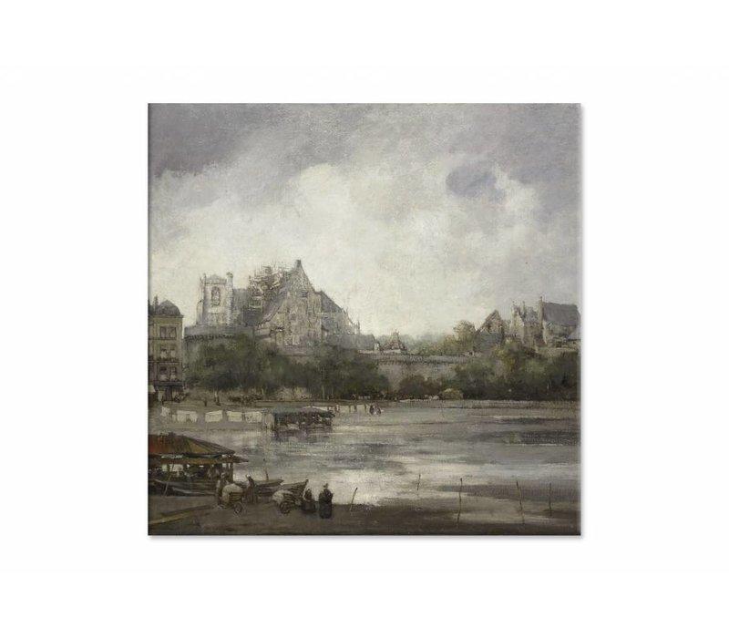 Gezicht op Nantes • vierkante afdruk op canvas