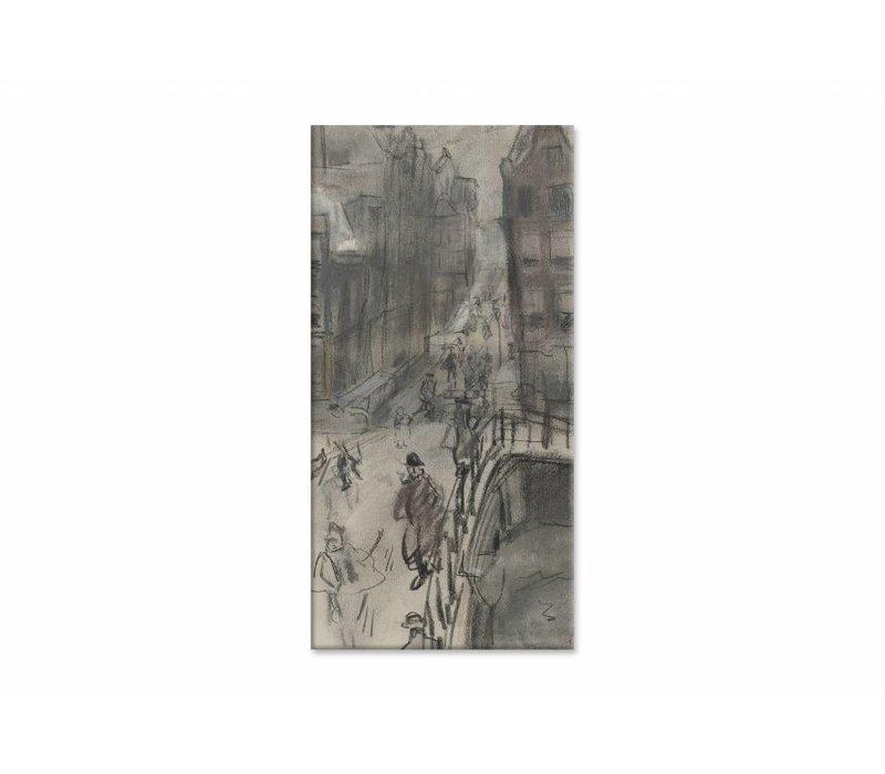Brug over het Singel bij de Oud Spiegelstraat te Amsterdam • staande afdruk op canvas