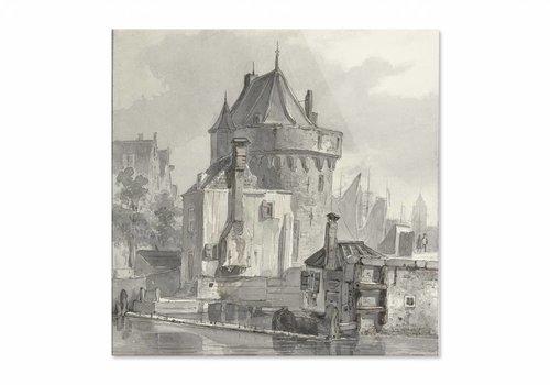 Gezicht op de hoofdtoren te Hoorn • vierkante afdruk op plexiglas