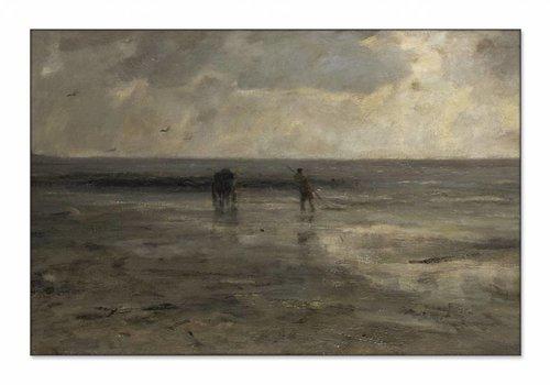 Strand bij avond • liggende afdruk op textiel