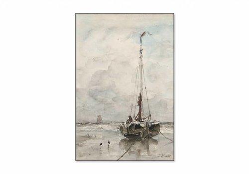 Visserspink aan het strand • staande afdruk op textiel