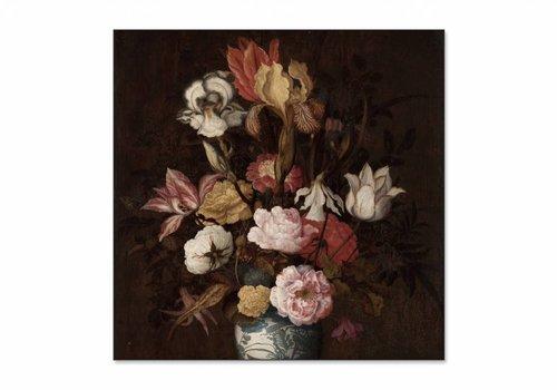 Bloemen in een Wan Li vaas • vierkante afdruk op textiel