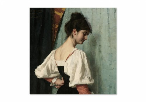 Portret van een jonge vrouw met de hond • vierkante afdruk op plexiglas