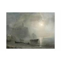 Gezicht op een rotsachtige kust • liggende afdruk op plexiglas