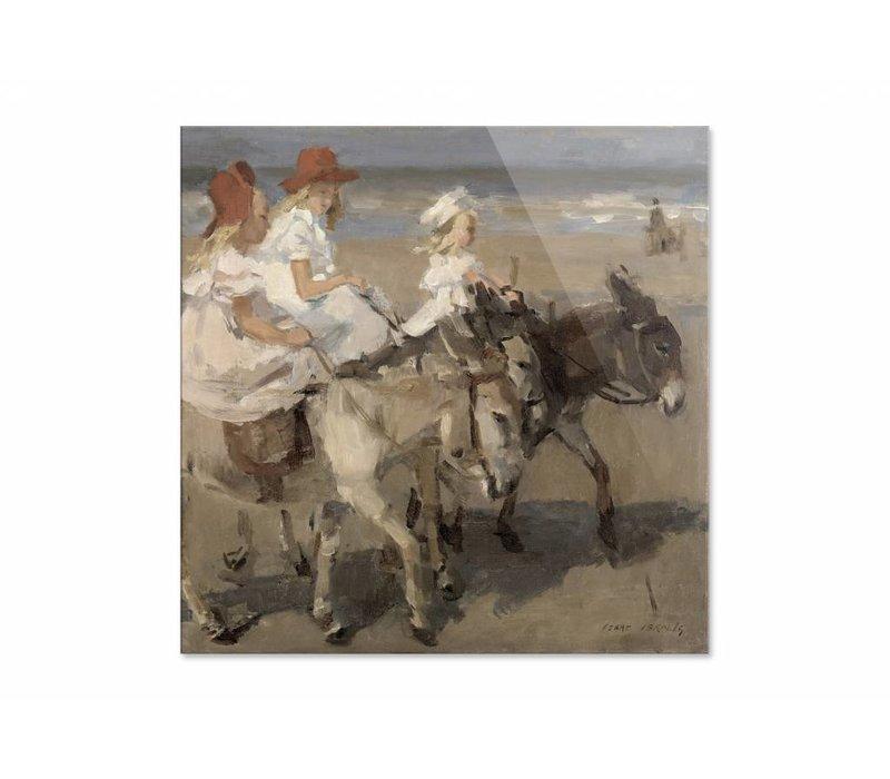 Ezeltje rijden langs het strand • vierkante afdruk op plexiglas