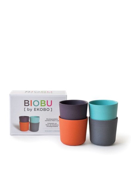 Biobu Bambino Cup Set 2 - lagoon, mandarin, prune, smoke