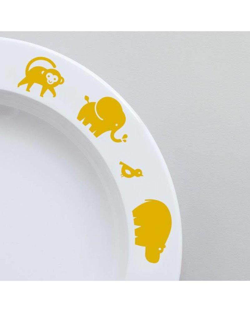 Buddy and Bear Wild Animal Plate (Yellow)