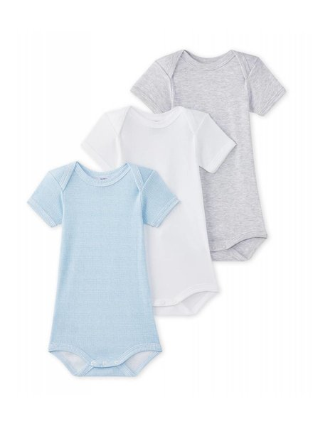 Petit Bateau Set van 3 body's met korte mouwen - blauw/grijs/wit