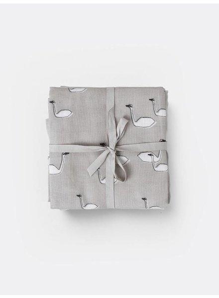 Ferm Living Muslin Diapers - Swan Grey (set of 3)