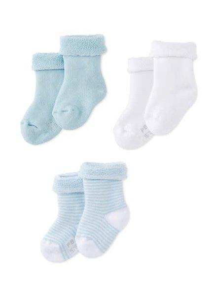 Petit Bateau Set van 3 paar babykousjes - blauw