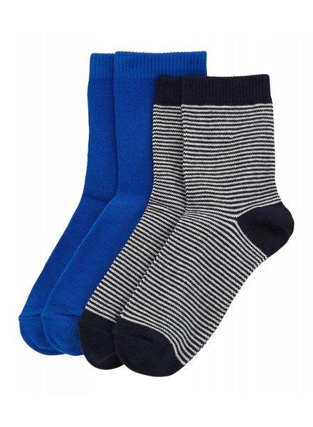 Petit Bateau Set van 2 paar sokken - blue stripes