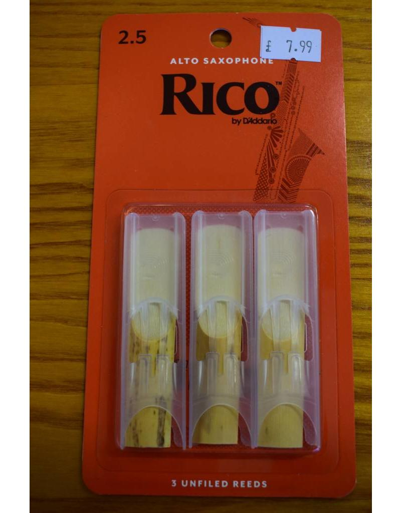 DAddario Woodwinds Rico, Alto Sax, 3 Pack, 2.5