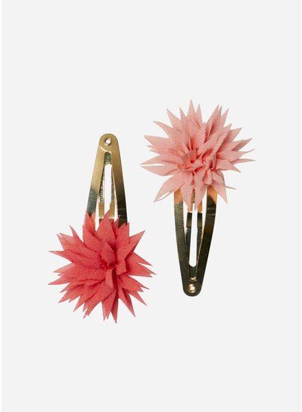 Maileg Dahlia flower clips, raspberry and melon, 2pcs