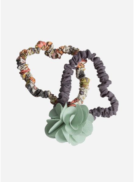 Maileg Hair elastics, fluff flower, green, 2 pcs