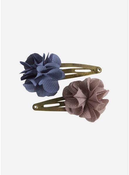 Maileg Hair clips, fluff flower, denim, 2 pcs