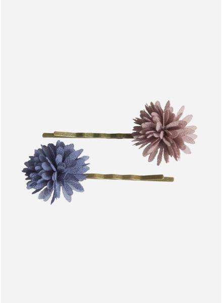 Maileg Bobbi pins, chiffon flowers, denim, 2 pcs