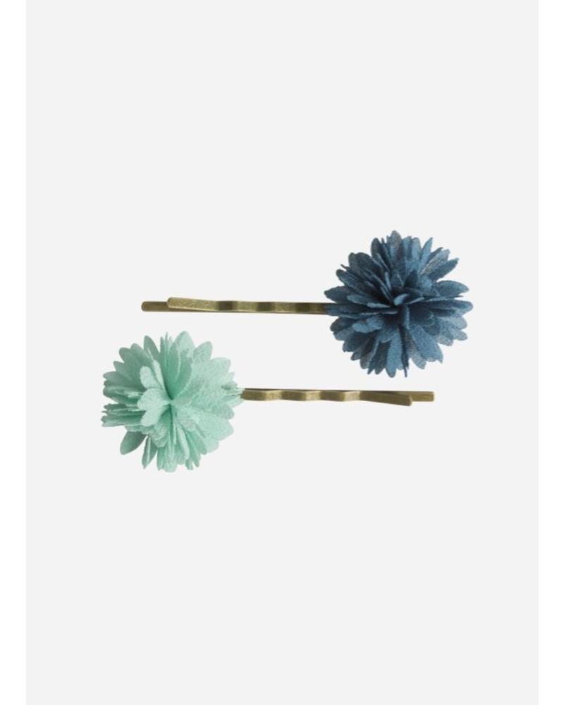 Maileg Bobbi pins, chiffon flowers, aqua, 2 pcs