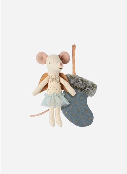 Maileg Mouse, angel with stocking, blue