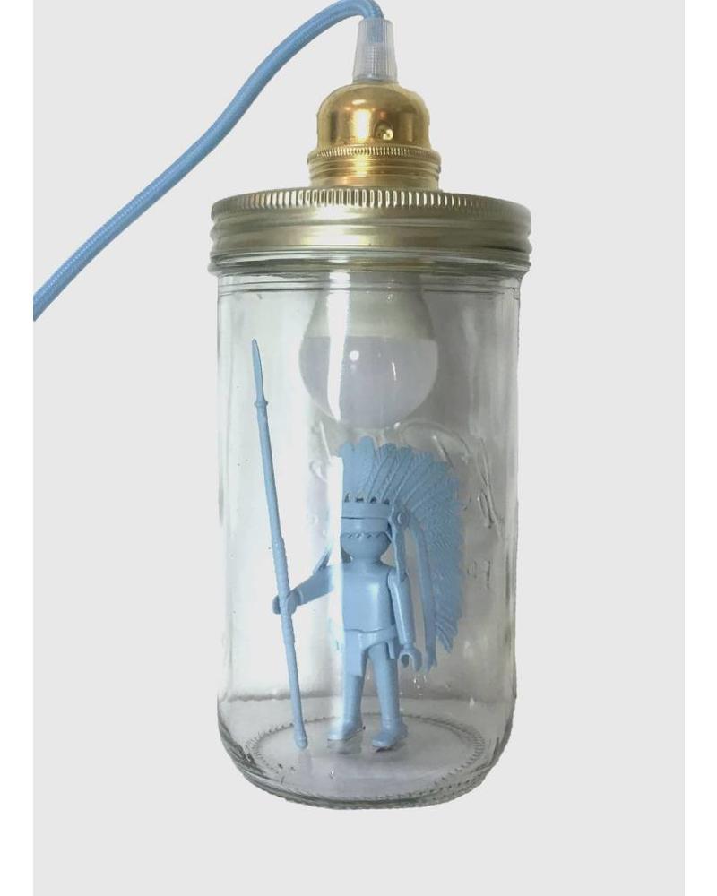 La Tete Le Bocal Lampe chef indien bleu baby