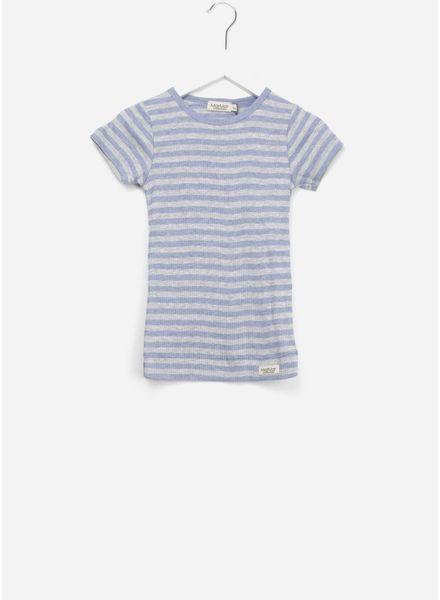 MarMar Copenhagen plain tee ss stripes mid blue/ grey melange