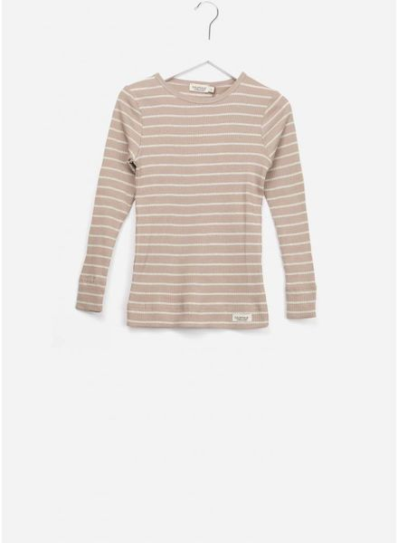 MarMar Copenhagen plain tee ls lurex stripes burnt rose/gold
