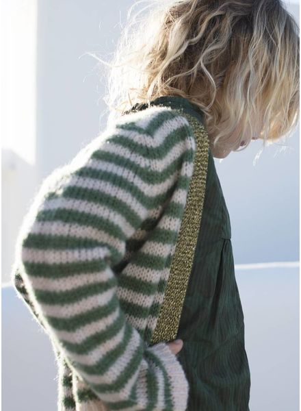 Long Live The Queen Handknit cardigan green stripe