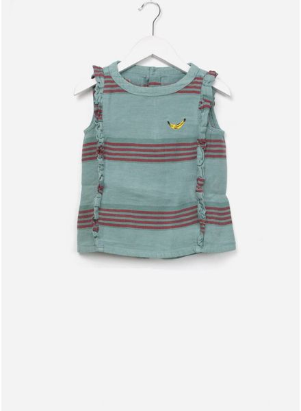 Bobo Choses Striped linen ruffles  shirt